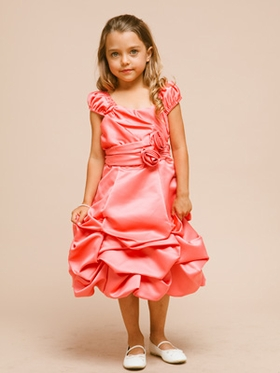 Satin Short Bubble Dress with Hand Rolled Rosette