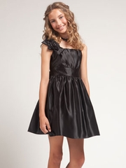 Satin Short Flower Girl Dress with Accented Rosette Flowers