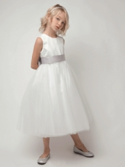 Satin & Tulle Flower Girl Dress with Elegant Bow