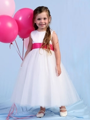 Satin & Tulle Flowergirl Dress with Faux Buttons