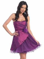 Satin & Tulle Short Prom Dress