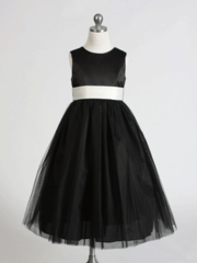 Satin & Tulle with Elegant Sash Flower Girl Dress