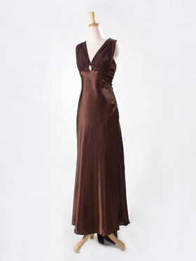 Satin with Chiffon Layered Bridesmaid Dress