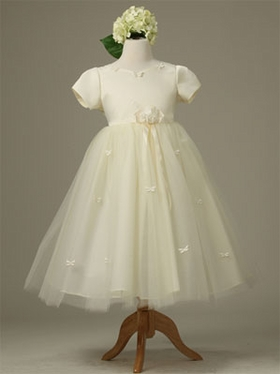 Satin with Tull Skirt Flower Girl Dress