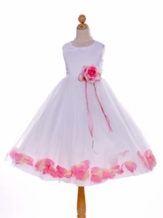 Satin with Tulle Petal Accented Skirt Flower Girl Dress