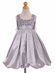 Silver Sequins Bodice Bubble Holiday Dress