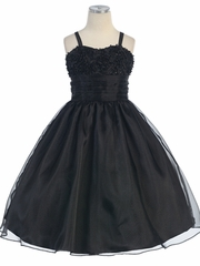 Sequince Embroidred Mesh Top w/Pleated Organza Waistband Flower Girl Dress