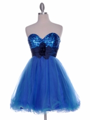 Short Beaded Floral Accented Waistband Tulle Skirt Prom Dress