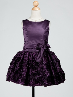 Short Satin Junior Bridesmaid Dress with Detachable Sash