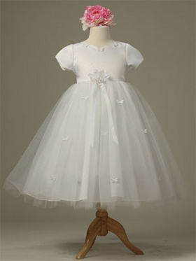 Short Sleeve Tulle Skirt Flower Girl Dress