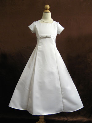 Short sleeves satin communion dress
