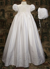 Silk Dupioni Gown with Smocked Bodice