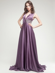 Silk Long Gown with Hand Crafted waistline