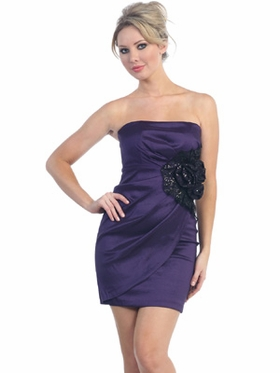 Silk Satin Tube Top Short Prom Dress