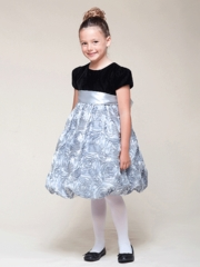Silver Rosette Inspired Bubble Dress with Velvet Top