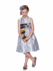 Silver Satin Dress with Lace and Ribbon