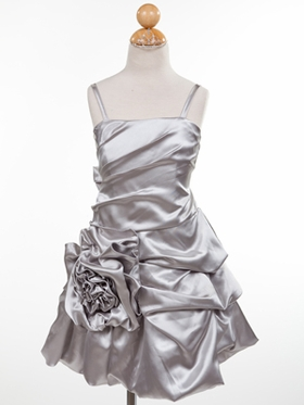 Silver Satin Rose Accented Short Flower Girl Dress