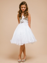 Silver Sequin and Tulle Graduation Dress
