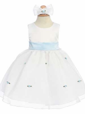 Skyblue Small Flowers Skirt Infant Dress