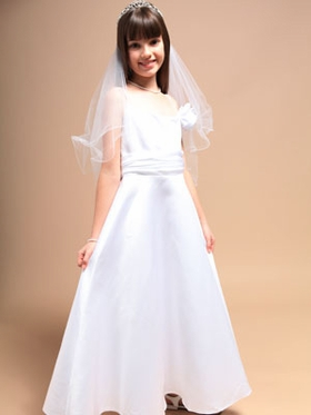 Spaghetti Straps A-Line Long Communion Dress