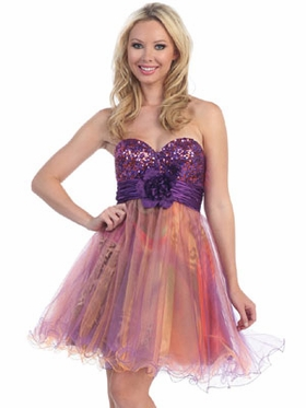 Sparkling Bodice w/Multi Overlay Tool Skirt Dress
