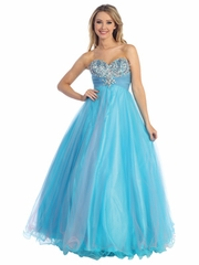 Sparkling Gem Accented Bodice Long Dress