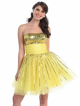 Sparkling Sequins Bodice w/Tulle Skirt  Short  Prom Dress