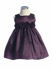 Squired Neckline Plum Taffeta Flower Girl Dress