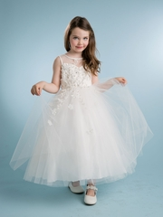 Stunning Beaded Illusion Neckline Flower Girl Dress
