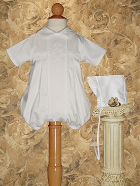 Stunning Cotton Satin Boys Christening Romper