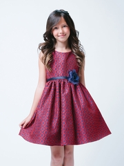Stunning Red/Navy Geo Floral Print Jacquard Holiday Dress