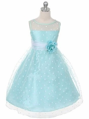 Mint Stylish Organza Polka-dot Flower Girl Dress