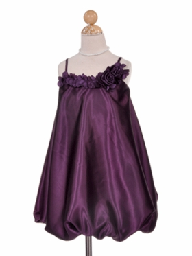 Stylish Satin Bubble Dress with Rosette