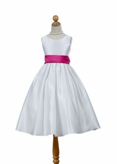 Stylish Satin  with Contrast Sash Flowergirl Dress