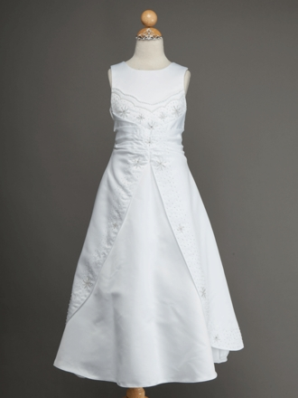 Sweet Beaded A-Line Satin Communion Dress