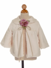 Fur Coat for Flower Girl in Cream
