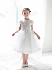Sweet Lace Communion Dress with Organza Skirt