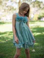 Sweet  Shiny Chiffon Dress with Flower Trim