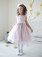 Sweet Two Tone Organza Flower Girl Dress with Applique