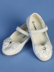 Sweet White Shoes With Satin Bow
