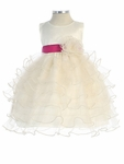 Taffeta bodice Tiered Ruffle Skirt Organza Dress