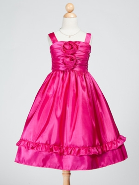 Taffeta Dress with Ruffle Hemming and Ruched Bodice