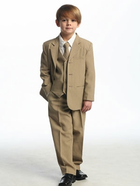 Tan/Chocolate Stripes  Single Breasted  Boy's Suit