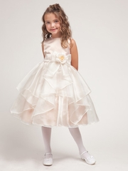 Taupe Cristal Organza Overlay Flower Girl Dress
