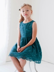 Teal Lace Dress with Optional Satin Sash