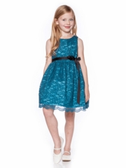 Teal Lace Dress with Satin Sash