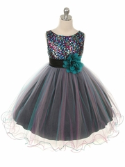 Teal Multi-color Beaded Holiday Dress with Tulle skirt