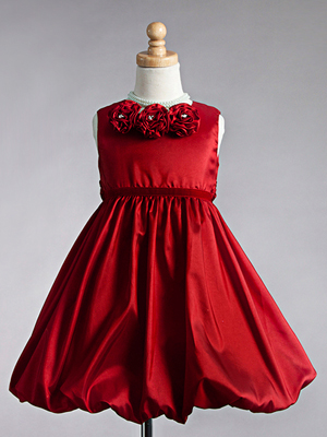 Three Floral Accented Bubble Hem Flower Girl Dress