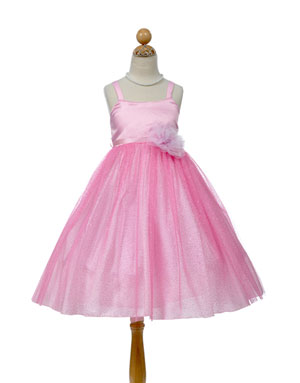 Trendy Pink Holiday Dress with Glittered Skirt
