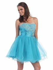Trendy Ruched Waist & Tulle Short Prom Dress